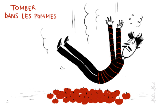 French idiom tomber dans les pommes